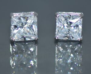 14K Solid White Gold Lab Diamond Princess Cut Screw Back Stud Earrings 0.50TCW