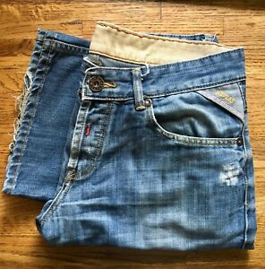Replay Brand Designer Jeans Men's Sz 3433 Distressed Relaxed button Fly