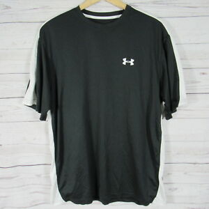 Under Armour Gym Shirt Mens Large L Black White Dry Fitting Material