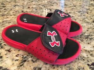 Boys Youth Size 1 Under Armour Slide Sandals Red And Black