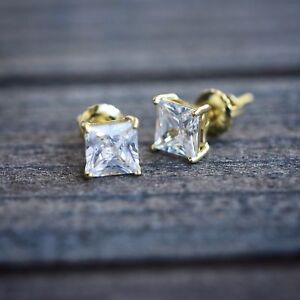MensWomen 2Ct Princess Cut Diamond Solitaire Stud Earrings 14K Yellow Gold Over