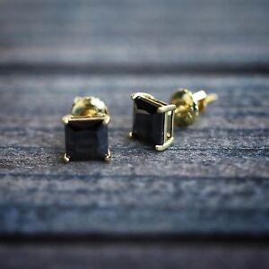 2Ct Princess Cut Black Diamond 14k Gold Over 925 Silver Solitaire Stud Earrings