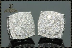 Mens Womens 14K White Gold Over 1.50Carat DVVS1 Diamond Cluster Stud Earrings