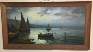 VINTAGE OIL PAINTING ON CANVAS NAUTICAL BOATS FISHERMAN SEASCAPE SIGNED $2096.25