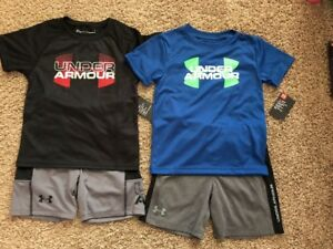 NWT 2 Set Under Armour Heat Gear Top&Shorts For Boy Kid Size 4 $83 Value