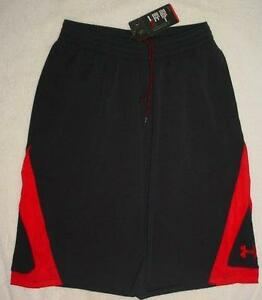 NEW MENS UNDER ARMOUR 24IN BASKETBALL BLACKRED SHORTS WPOCKETS SMALL REG. $50