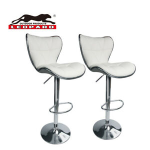 Leopard Shell Back Adjustable Swivel Bar Stools PU Leather With Back Set of 2