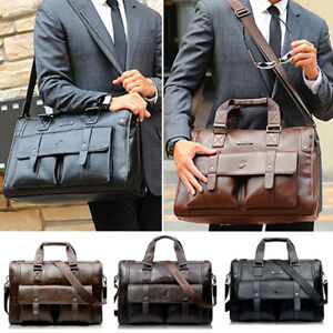 US Men Leather Messenger Shoulder Bag Business Work Briefcase Laptop Bag Handbag