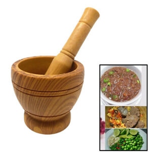 Home Basics Plastic Mortar and Pestle Bamboo Design New Free Shipping