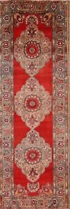 Antique Geometric Runner 4x11 Anatolian Oushak Turkish Oriental Rug 11' x 3' 9