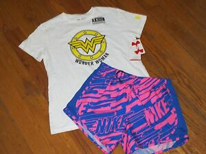 NWT UNDER ARMOUR & NIKE  YOUTH GIRLS XL SHORTS & SHIRT OUTFIT RUNNING  SET LOT