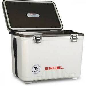 Engel 19 Quart Fishing Live Bait Dry Box Ice Cooler with Shoulder Strap White