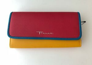 NWOT Tahari Red Yellow Blue Leather Wallet Womens New Trifold