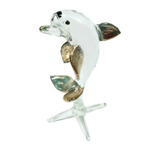 Dolphin Clear Fish Miniature Animal Figurine Blown Glass Hand Craft Collectible $8.99