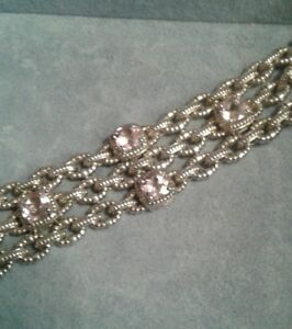 Charles Krypell Sterling Silver and 14K White Gold Pink Topaz Three Row Bracelet