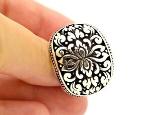 LARGE HEAVY HQ 925 STERLING SILVER UNISEX RING 9.259.5 TURKISH JEWELRY US