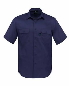 Kolossus Men's Lightweight Cotton Blend Short Sleeve Work Shirt with Pockets