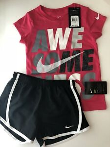 NWT Nike Girls Outfit Tempo Dri-Fit Active Athletic Shorts T-shirt Pink Black 6X