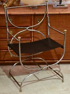 Six mid century French armchairs with black leather