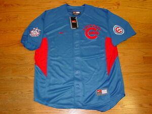 New Mens L Nike MLB Chicago Cubs Shirt Button Down Jersey Royal Blue Red Large