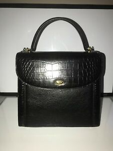 VINTAGE CLASSIC BALLY Pebbled Black Leather Moc Crocodile Kelly Hand Bag WStrap