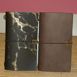 1pc Travel PU Leather Strap Notebook With 3 Notes Refilll, Dot/Grid/Blank