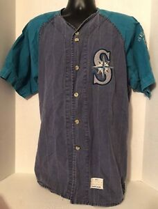 Men's Vintage Seattle Mariners Jersey Button Down Shirt by Mirage - Size XLarge