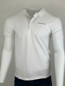 Armani Exchange Authentic Pique Logo Polo Shirt White NWT
