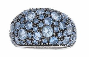 ISAAC WESTMAN Rose Gold Plated 925 Sterling Silver Pave Ring With Blue Spinel...