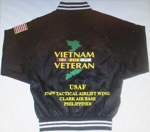 374TH TACTICAL AIRLIFT WING*VIETNAM* CLARK AB PHILIPPINES *2-SIDED SATIN JACKET