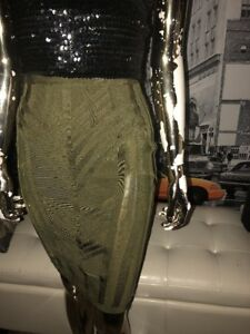 HOUSE of CB London Olive Green Bodycon Sheer Panel SEXY Pencil Skirt Sz S
