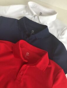 GAP Kids Boys Athletic Dry Fit Collared Shirt LOT 3 Pair Blue Red White 8 Medium