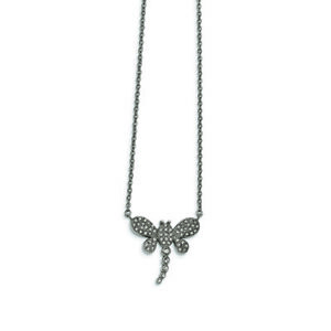 Chisel Stainless Steel Polished w Preciosa Crystal Dragonfly w2 inch ext Neckl