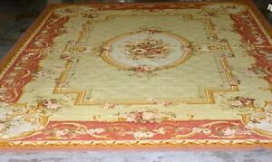 Antique French Aubusson Wool Rug  Palace Size 19' 10 12