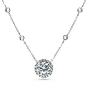 BERRICLE Sterling Silver Cubic Zirconia CZ Halo Statement Pendant Necklace