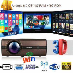 4K WiFi Wireless 1080P FHD Android 6.0 LED Projector 4000LM Home Movie HDMI 1+8G