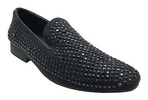 Amali Men's Black Velvet Crystal Design Fashion Slip On Dress Shoes Devy-000
