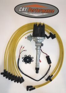 Small Cap CHEVY CORVETTE Tach Drive HEI Distributor amp; Plug Wires under YELLOW $184.99