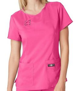 CLEARANCE Koi Tech Women#x27;s Serena Crossover Y Neck Solid Scrub Top WHTEFLAMINGO