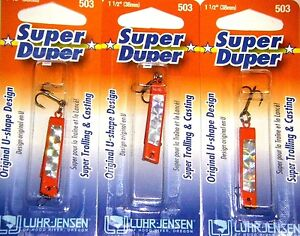LUHR JENSEN SUPER DUPER TROUT FISHING LURES #1303-503-0157 FIRE SILVER 3 PK