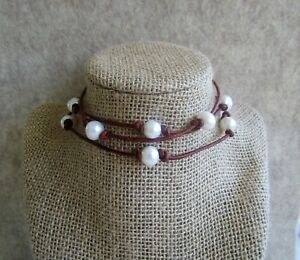 Adjustable Leather & Freshwater Pearl Necklace