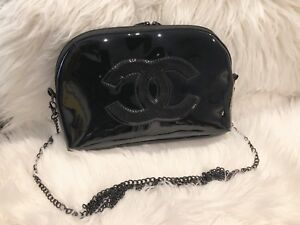 Chanel Make up Bag w a Crossbody Metal Chain Black Patent VIP Gift