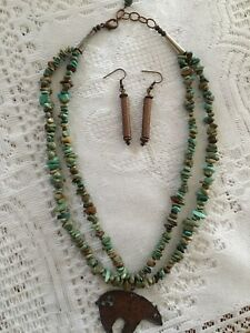 Turquoise Necklace And Earring Set.