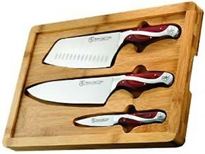 Hammer Stahl Knife 3 Set Chef-Vegetable Cleaver-Paring + Bamboo Cutting Board