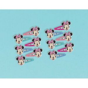 MINNIE MOUSE Happy Helpers GLITTER HAIR CLIPS (12) ~ Birthday Party Supplies