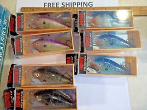 LOT OF 7 Hard to Find Rapala Glass Fat RapGFR-7  3 DIFFERENT COLORS CRANKBAITS