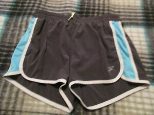 Brooks Womens Athletic Running Shorts Gray and blue Large