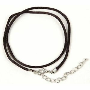 Necklace Cord For Pendants - Black - Silk  Satin 16