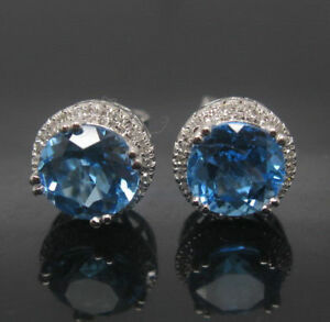 3Ct Round Unique Cut Blue Topaz Diamond Halo Stud Earring 14K White Gold Finish