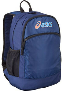Asics Backpack Blue Sports Rucksack Multiple Pockets Zipped Main Compartment